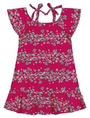 Vestido Infantil Verão Rosa Floral Elian