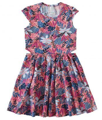 Vestido Infantil Verão Rosa Folhas Malwee