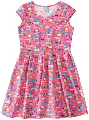 Vestido Infantil Verão Rosa Peixinho  Malwee