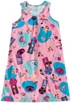 Vestido Infantil Verão Rosa Piscina Malwee