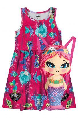 Vestido Infantil Verão Rosa Sereia Elian