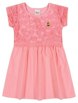 Vestido Infantil Verão Rosa Tule Elian