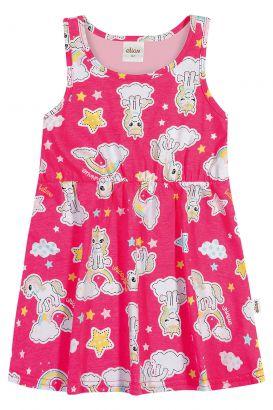 Vestido Infantil Verão Rosa Unicórnio Elian