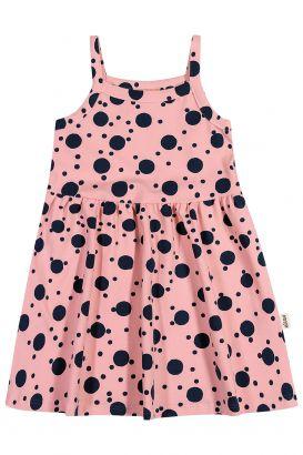 Vestido Infantil Verão Rosé Bolinhas Elian