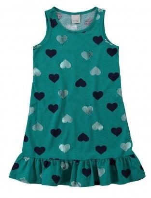 Vestido Infantil Verão Verde Coração Malwee