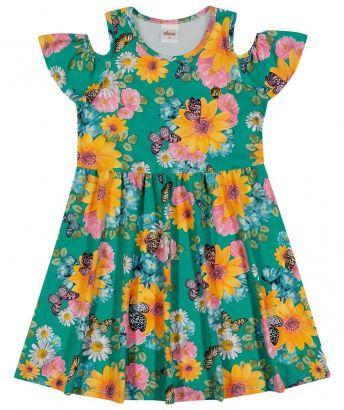 Vestido Infantil Verão Verde Floral Elian