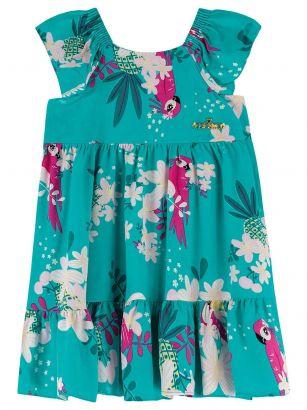 Vestido Infantil Verão Verde Tropical Colorittá