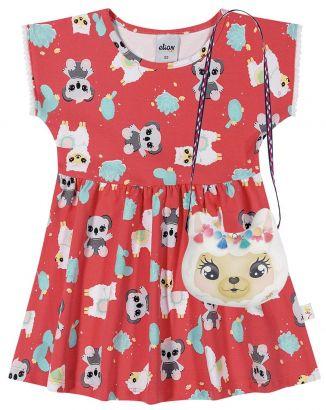Vestido Infantil Verão Vermelho Bichinhos Elian