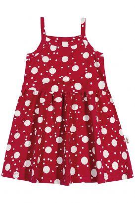 Vestido Infantil Verão Vermelho Bolinhas Elian