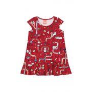 Vestido Infantil Verão Vermelho Cute Elian