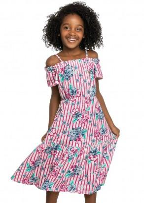 Vestido Infantil Verão Vermelho Flores Elian