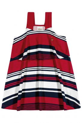 Vestido Infantil Verão Vermelho Listras Elian