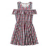 Vestido Infantil Verão Vermelho Xadrez Malwee