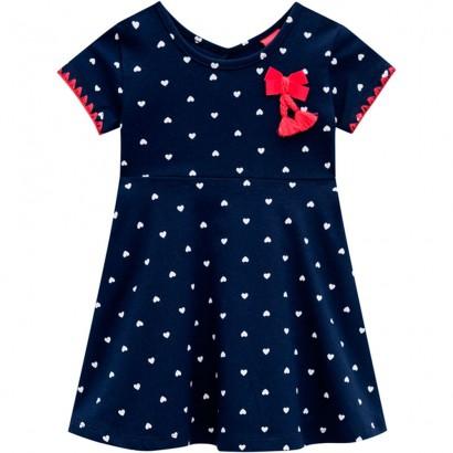 Vestido Infantil Verão Azul Coração Kyly