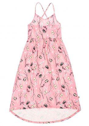 Vestido Longo Infantil Verão Rosa Borboletas Kids Club