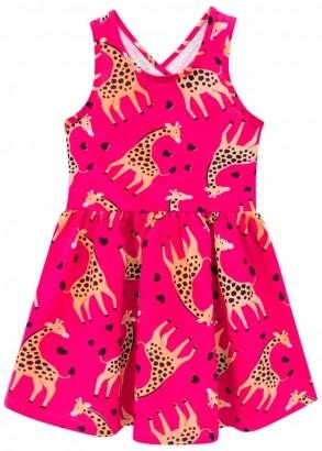 Vestido Infantil Magenta Estampa Girafa - Kyly