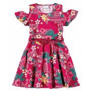 Vestido Infantil Rosa Flores Malwee