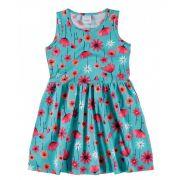 Vestido Infantil Azul Flor Malwee