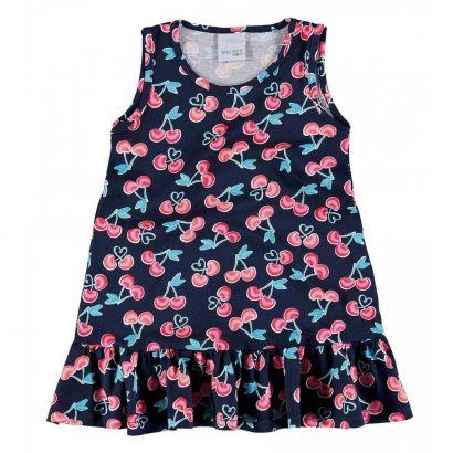 Vestido Infantil Azul Marinho Cerejinhas Malwee