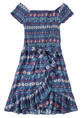 Vestido Midi Infantil Azul Flores Malwee