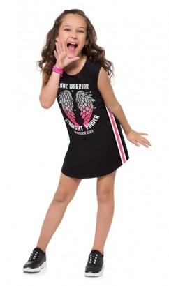 Vestido Infantil Preto Metalizado - Kyly