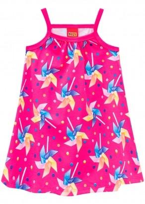 Vestido Infantil Rosa Choque Estampa Cata-Vento - Kyly