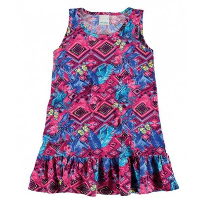 Vestido Infantil Rosa Losangos Malwee