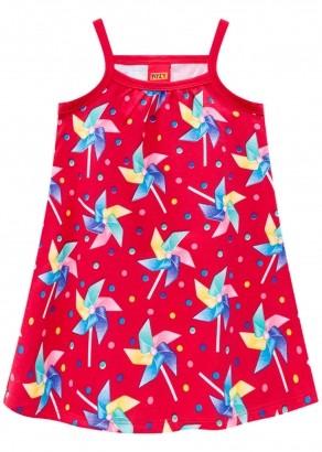 Vestido Infantil Vermelho Estampa Cata-Vento – Kyly