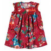 Vestido Infantil Vermelho Bichinhos Zig Zig Zaa