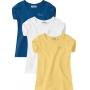 Blusa Infantil Curta Feminina Kit 3 Amarelo - Carinhoso