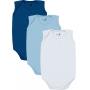 Body Bebê Masculino Verão Kit 3 Azul Lisos - Kiko e Kika