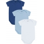 Body Bebê Masculino Verão Kit 3 Azul Médio Lisos - Kiko e Kika