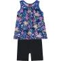 Conjunto Infantil Feminino Curto Azul Macaco - Kyly