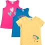 Kit 3 Blusa Curta Infantil Malwee Feminina Rosa Coração