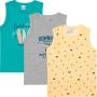 Kit 3 Regatas Infantil Masculina Amarela Praia - Malwee