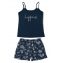 Pijama Feminino Adulto Estampado Azul Malwee
