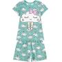 Pijama Infantil Feminino Verão Verde Cute Cloud Brilha no Escuro - Kyly