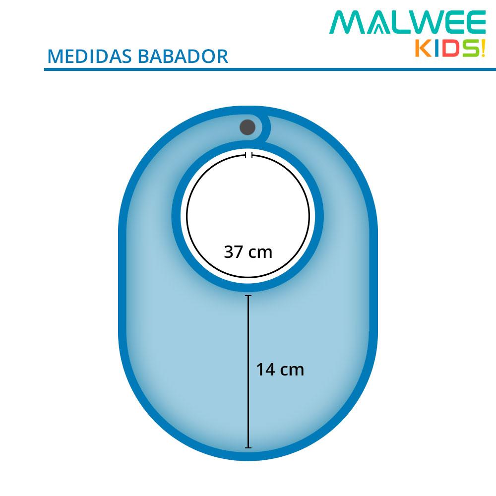Babador Bandana Bebê Azul Baleia - Malwee: Tabela de medidas