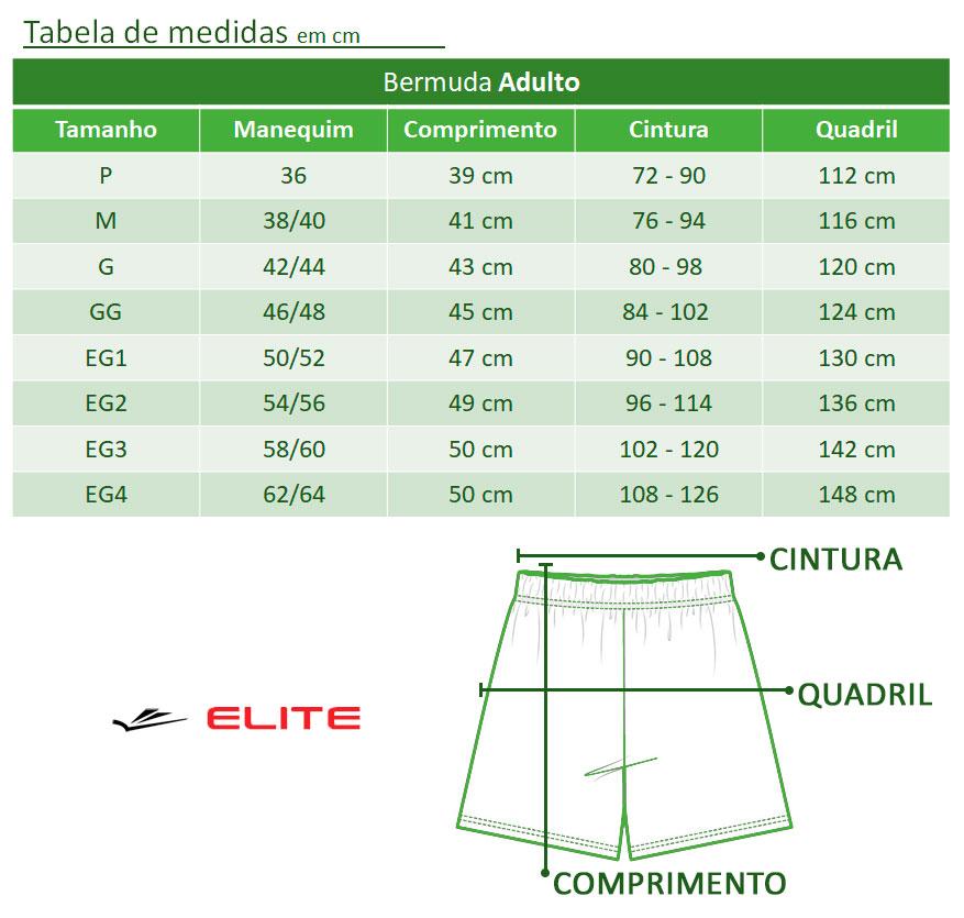Bermuda Masculina Adulto Preta Fitness Esportiva - Elite: Tabela de medidas