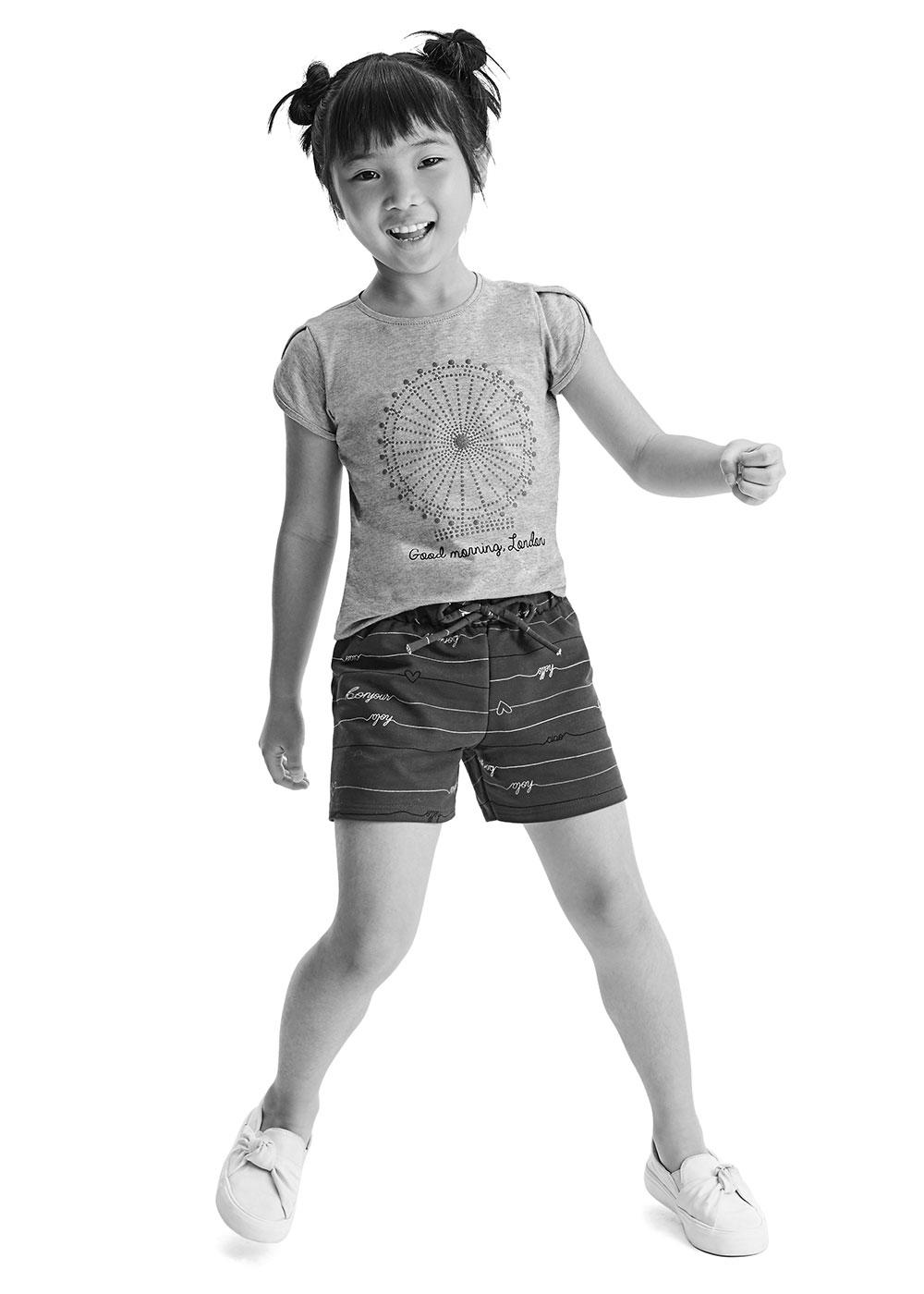 Short Infantil Feminino Rosa Estampado - Malwee