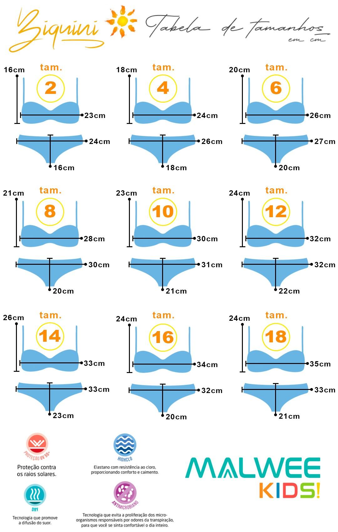 Biquini Infantil Proteção UV 50+ Rosa Seaside - Malwee: Tabela de medidas