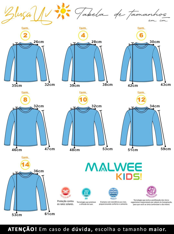 Blusa com Proteção UV Infantil Masculino Verão Azul Dinossauro - Malwee: Tabela de medidas