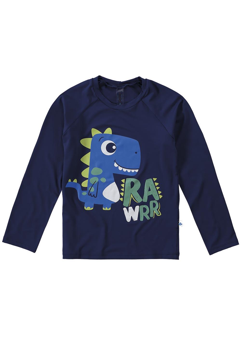 Blusa com Proteção UV Infantil Masculino Verão Azul Dinossauro - Malwee