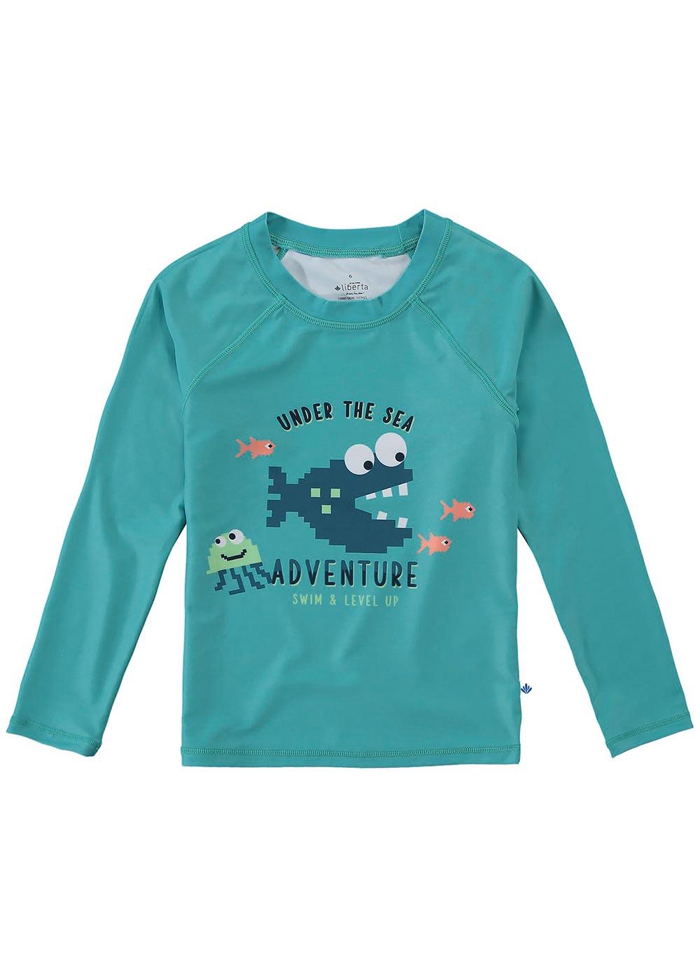 Blusa com Proteção UV Infantil Masculino Verão Verde Adventure - Malwee