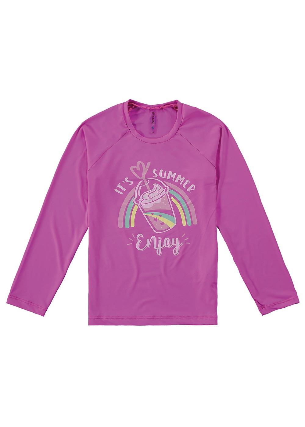 Blusa com Proteção UV Infantil Feminino Verão Rosa Enjoy - Malwee