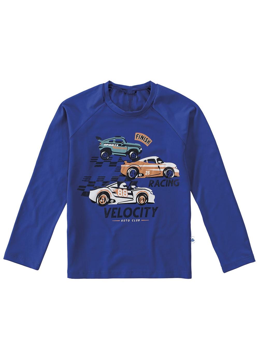 Blusa com Proteção UV Infantil Verão Azul Racing Malwee