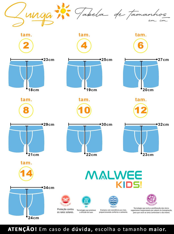 Blusa com Proteção UV + Sunga Boxer Infantil Verão Verde Pirata Malwee: Tabela de medidas