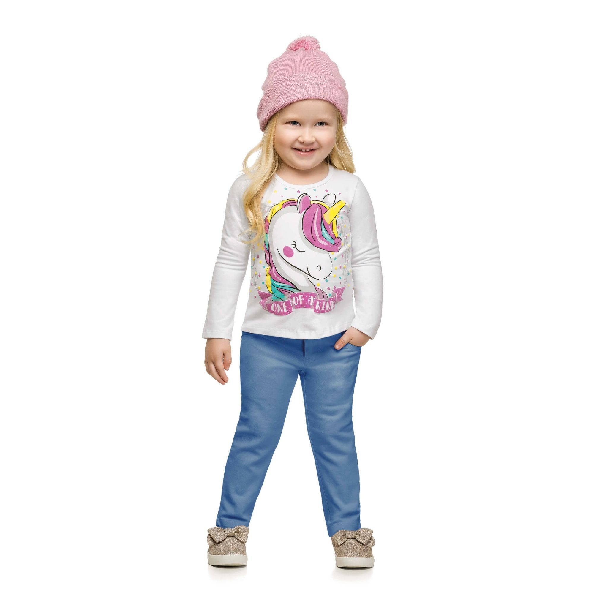Blusa Infantil Feminina Feminina Inverno Branca Unicórnio Elian