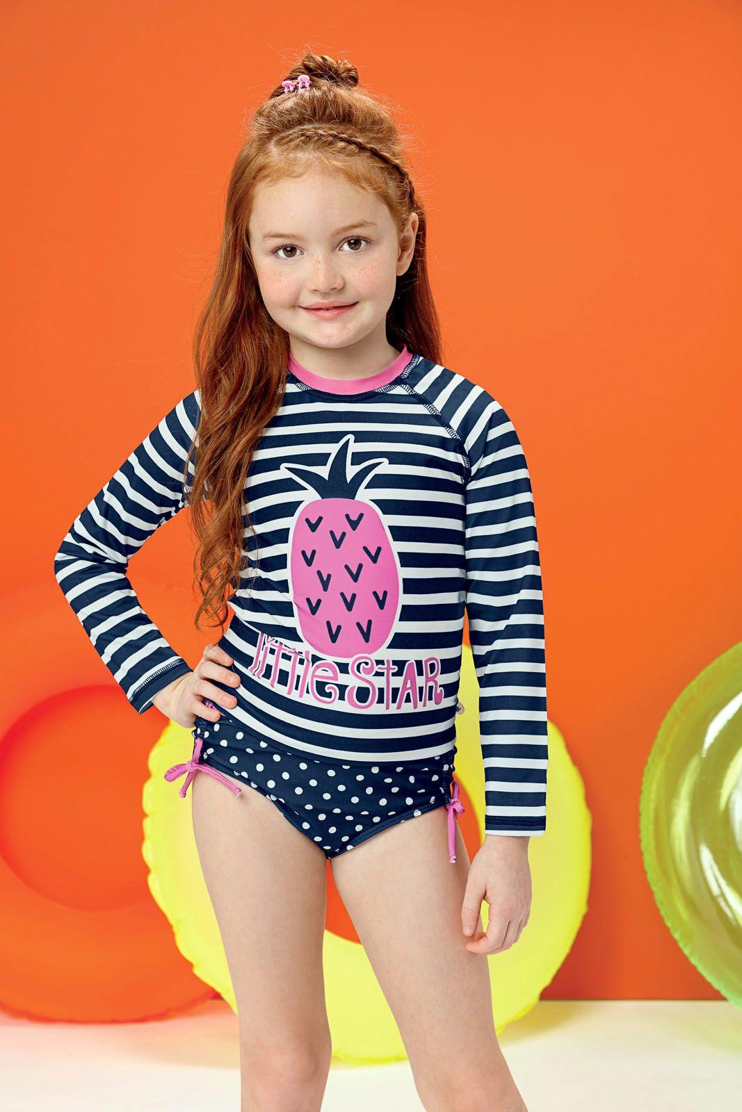 Blusa Infantil com Proteção UV 50+ Marinho Listrado Malwee