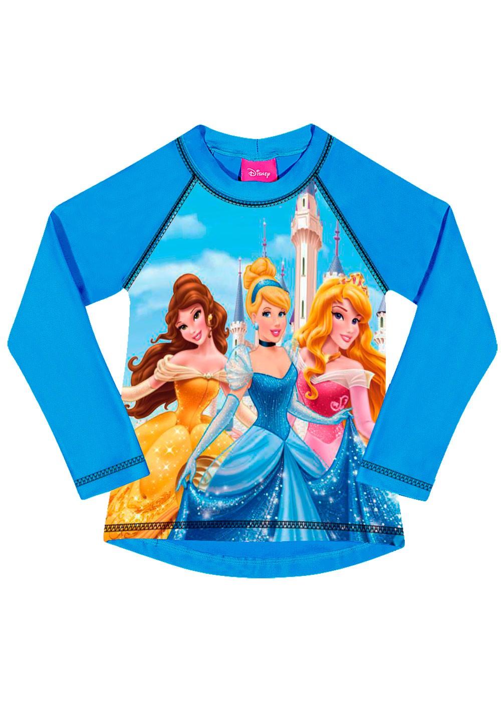 Blusa Infantil com Proteção UV 50+ Verão Azul Princesas Tip Top